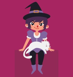 Cute Witch and Cat vector