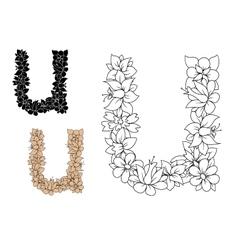 Decorative letter u with vintage floral pattern vector