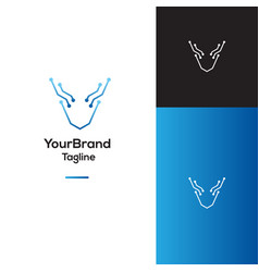deer technology logo template vector image