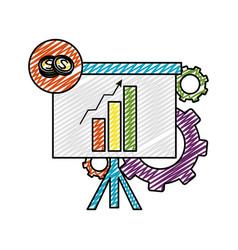 Doodle statistics bar growing presentation with vector
