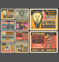 Electric technician service electrical work tools vector