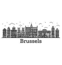 Engraved brussels belgium city skyline with vector