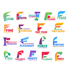 F letter corporate identity business icons vector