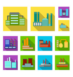 factory and facilities flat icons in set vector image