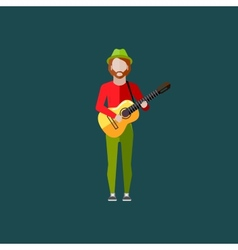 Flat of a musician guy with the guitar music vector