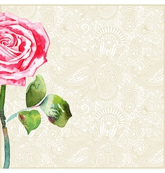 Floral background with watercolor rose vector
