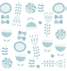 floral seamless blue gentle pattern it is located vector image