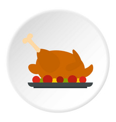 Fried chicken with tomatoes icon circle vector