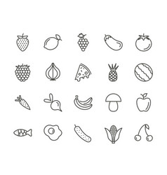 fruit set icon outline fresh food collecti vector image