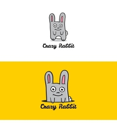 funny cartoon rabbit mascot logotype vector image
