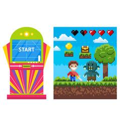 Gambling machine pixel game heroes war vector