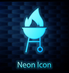 glowing neon barbecue grill icon isolated on brick vector image