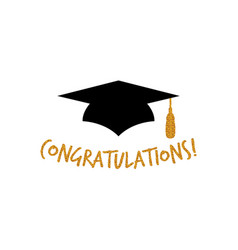 graduation logo design with congratulations vector image