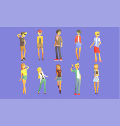 guys and girls dressed in trendy clothes set vector image