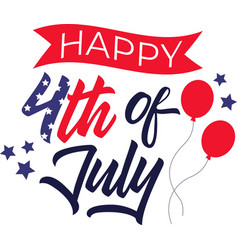 happy 4th july on white background vector image