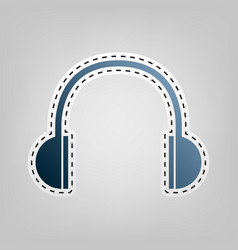 headphones sign blue icon vector image
