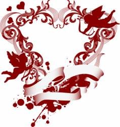 Heart and cupid icon vector