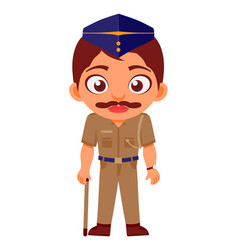indian man police constable indian police service vector image
