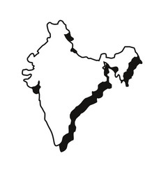 Indian map landmark on white background vector