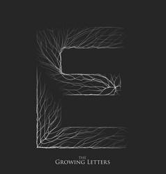 letter e of branch or cracked alphabet e vector image