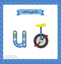 Letter u lowercase tracing unicycle vector