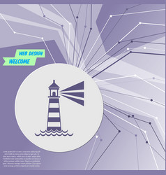 lighthouse icon on purple abstract modern vector image