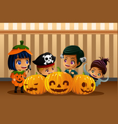 Little kids wearing halloween costumes vector