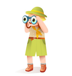 Little scout boy with binocular and safari clothes vector