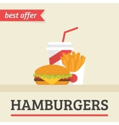 Lunch french fries burger and soda takeaway vector