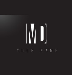 Md letter logo with black and white negative vector
