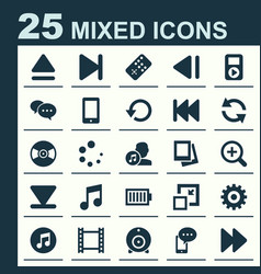 Media icons set collection of turntable decrease vector