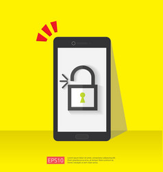 Mobile phone with open unlock padlock icon vector