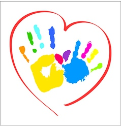Mothers and kids hands in a heart vector image