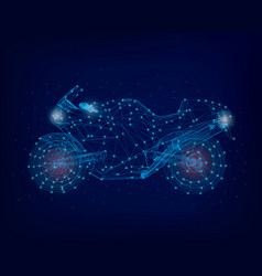 motorcycle wireframe of blue lines on a dark vector image