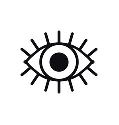 Open eye line icon on white background look see vector