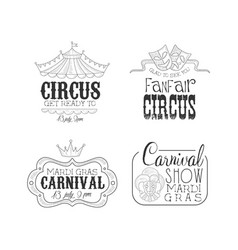 original black and white signs for circus vector image