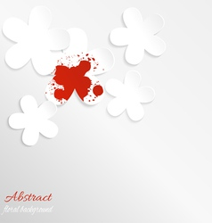 Paper floral background with red spot vector