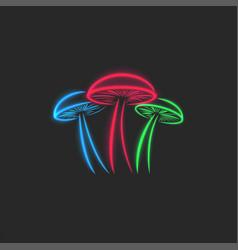 psilocybin mushrooms logo glow toxic neon magic vector image