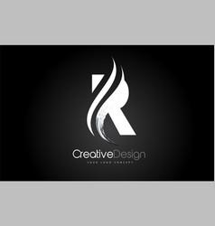 r letter design brush paint stroke on black vector image