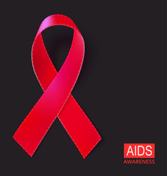 Realistic red ribbon on black vector