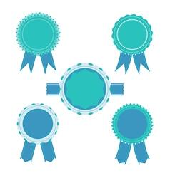 Retro blue color set ribbon banner badges vector