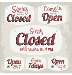 Retro Vintage Open Closed Sign Collection vector