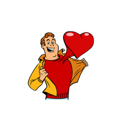 romantic man with a red heart valentine vector image