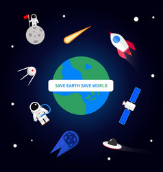 save earth save world design vector image