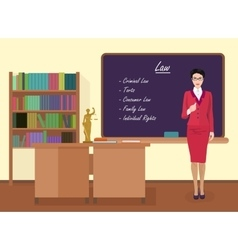 School Law female teacher in audience class vector
