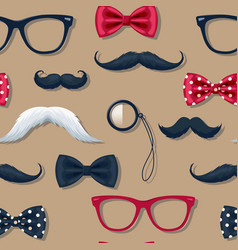 seamless pattern with moustache in retro style vector image