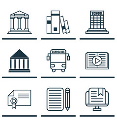 Set 9 school icons includes diploma academy vector
