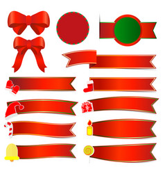 set christmas banners with red ribbon vector image