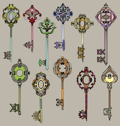 set of beautiful and colorful vintage keys vector image