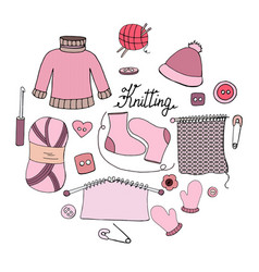 set of hand drawn elements for knitting on white b vector image